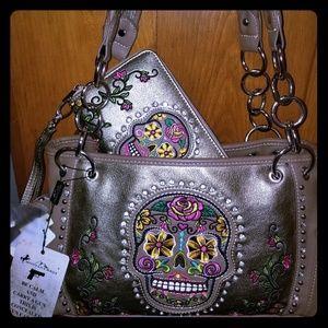 Montana West Sugar skull concealed carry purse set